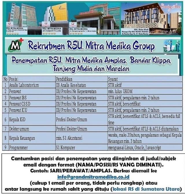 Loker Dokter RS Mitra Medika Group Pemempatan Amplas, Bandar Klippa, Tanjung Mulia dan Marelan