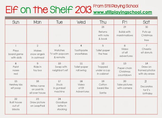 Calendar Name Ideas : A month of elf on the shelf ideas still playing school