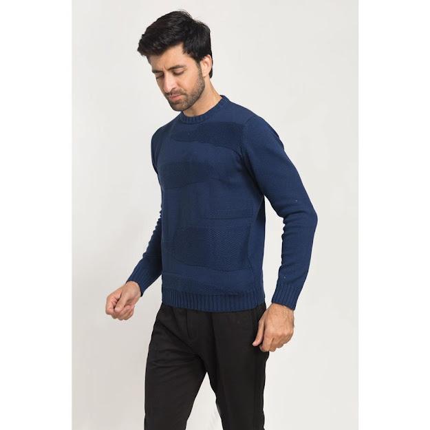 Men's winter wear blue sweaters
