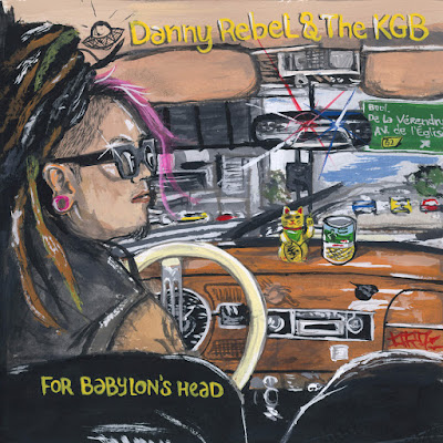 The cover painting depicts Danny Rebel driving a car and a police car chasing him can be seen in the rear view mirror.