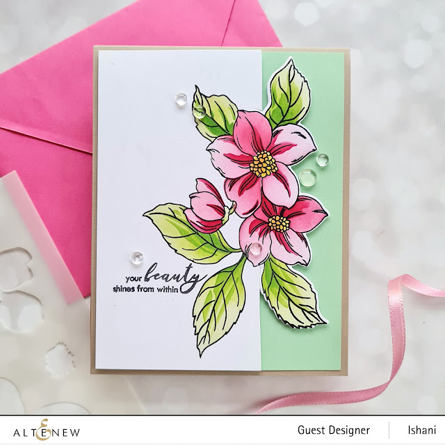CAS Card Video tutorial cardmaking with Hello Beautiful, Altenew Craft your life kit - stenciled floral card, Partial die cutting, guest designer Ishani, quillish