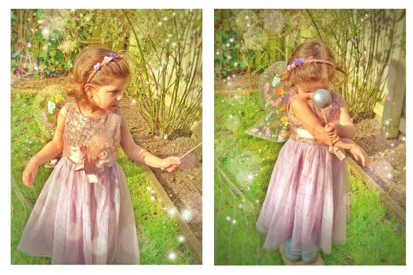 girl wearing transparent fairy wings made with pressed dried flowers