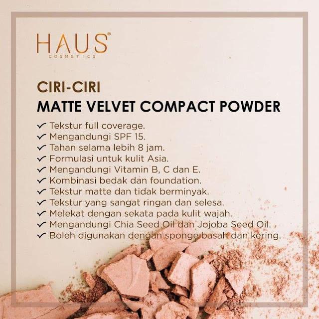 Ciri-ciri Matte Velvet Cmpact Powder By Haus Cosmetics