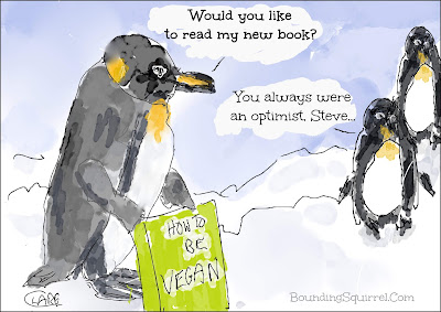 Cartoon in which one penguin tries to be vegan...