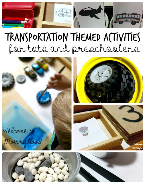 Montessori inspired transportation themed activities for preschoolers Welcome to Mommyhood includes over 40+ pages of activities! You can use these to work on math concepts, letter recognition, language building, and more! #printables, #montessori