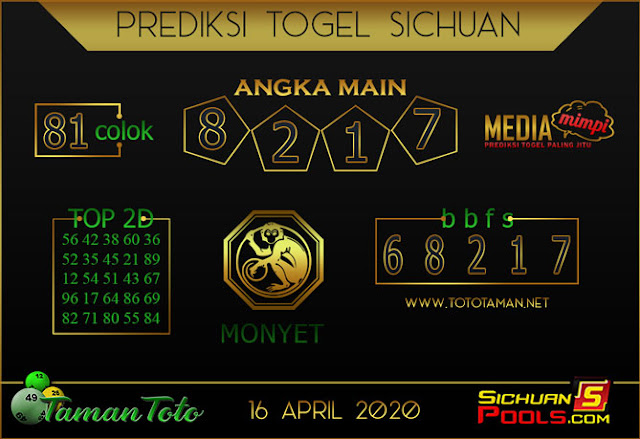Prediksi Togel SICHUAN TAMAN TOTO 16 APRIL 2020
