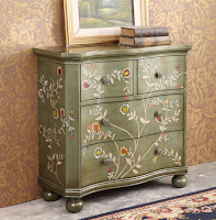 Interesting green vintage cabinet with floral pattern