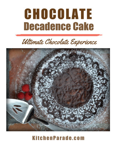 Chocolate Decadence Cake ♥ KitchenParade.com, the ultimate chocolate experience, a dense, moist and ultra-rich almost-flourless chocolate cake. Serve in small slivers!