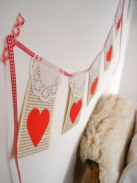 bookpage, doily and heart banner