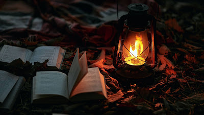 Camping, Books, Gas lamp, books, Fire, Nature
