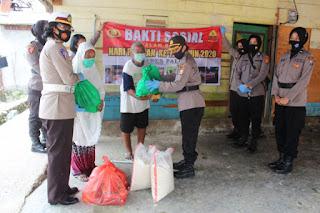 Polwan Polres Palopo Salurkan bantuan bahan pokok Kepada Warga kurang Mampu
