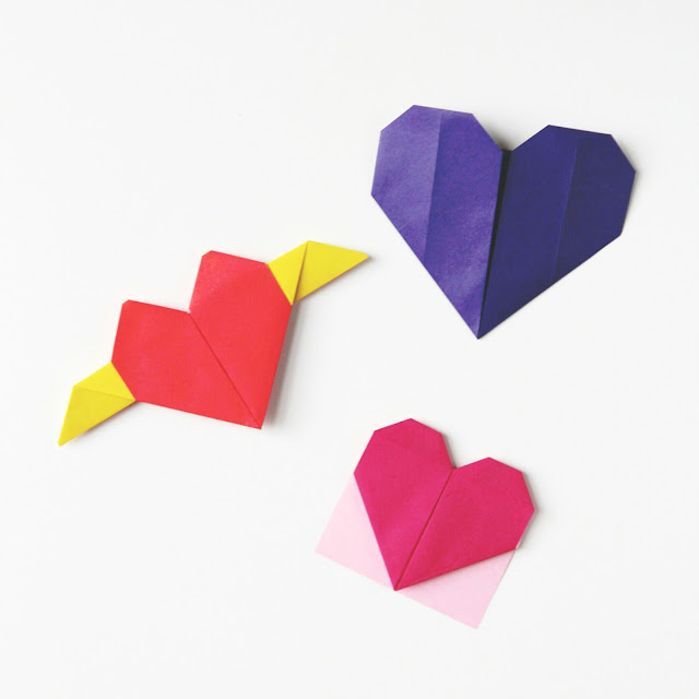 Valentine's Day Origami Hearts // 3 different ways