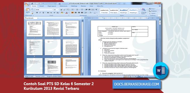 Contoh Soal PTS SD Kelas 6 Semester 2 Kurikulum 2013 Revisi Terbaru