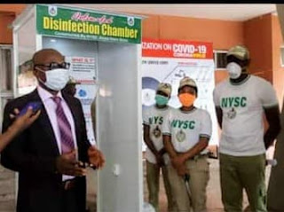 Covid-19: NYSC members donate automated disinfection chamber to federal secretariat complex Uyo