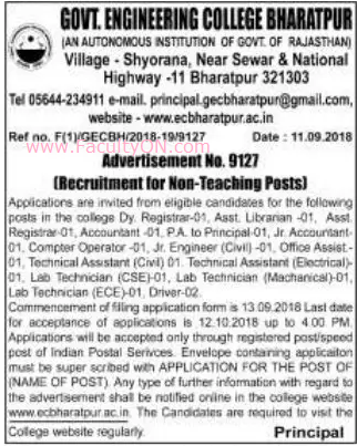 Government Engineering College, Bharatpur, Wanted Non