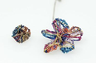 Mismatched flower earrings, artsy earrings