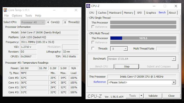 CPU-ZでCPU使用率を100%にして再度温度を測る