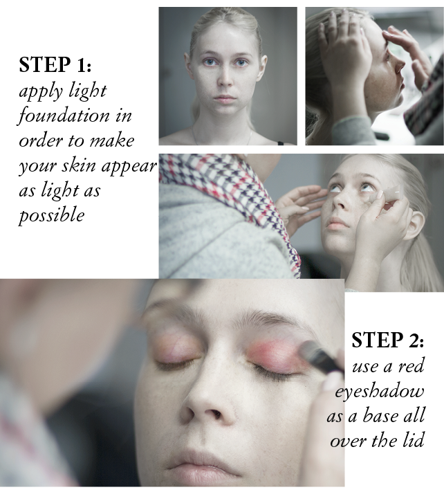 The following pictures show a step by step instruction for a grungy Halloween make up.