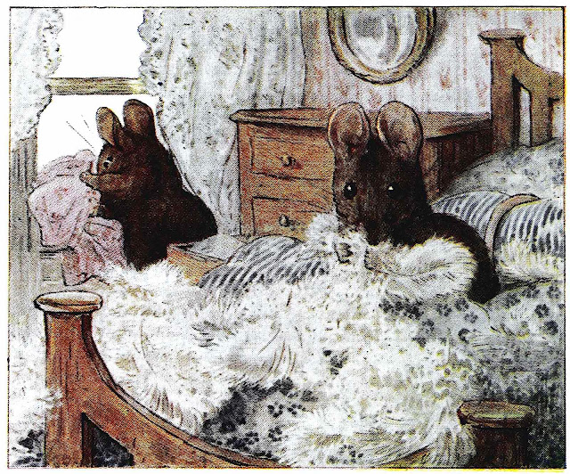 a Beatrix Potter illustration of busy mice