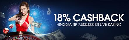 Main Casino Online M88 Dapat 18% CashBack