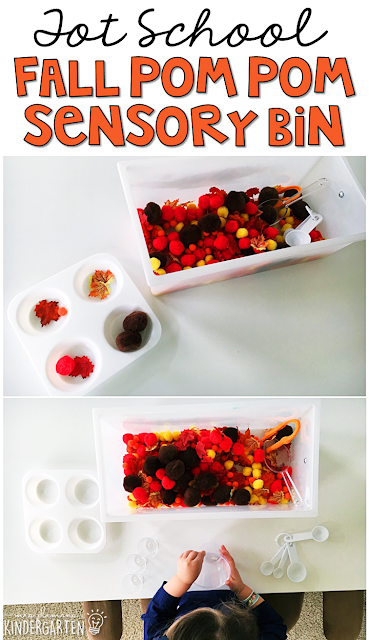 We LOVE this fall pop pom sensory bin. Great for tot school, preschool, or even kindergarten!