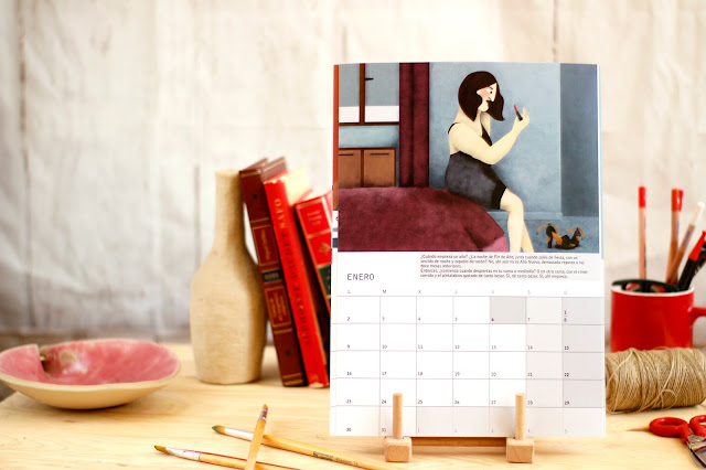 Calendario de pared o sombremesa para 2017 con planificador mensual - 2017 illustrated wall or desk calendar with monthly planners