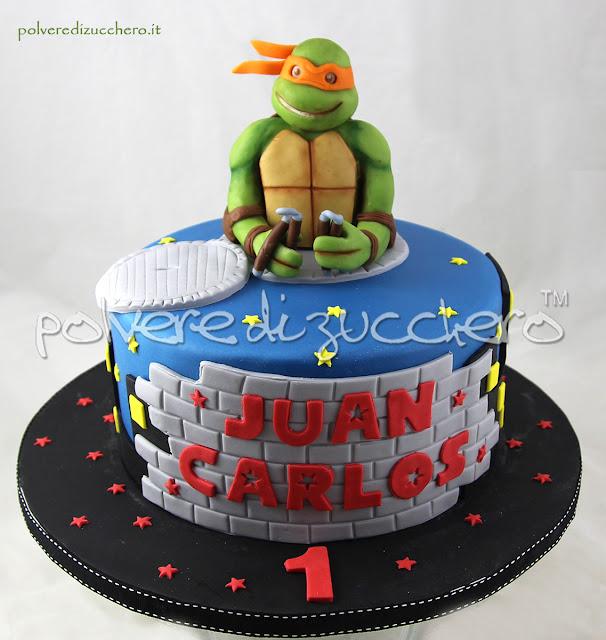 torta decorata tartarughe ninja pasta di zucchero cake design polvere di zucchero