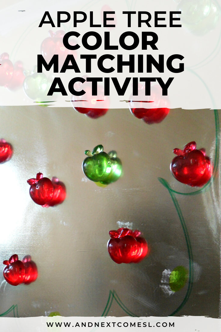 Sticky apple tree color matching activity for toddlers and preschoolers
