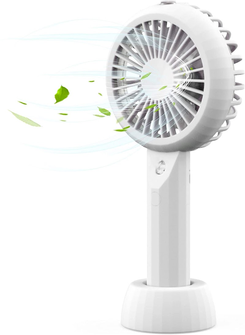 50% off  AceMining Rechargeable Battery Operated Handheld Fan with Personalized Cooling Humidifier, Misting Fan, Water Spray Fan,3 speeds,Strong Wind,Quiet,Small,Cooling for Home, Office, Travel, Camping