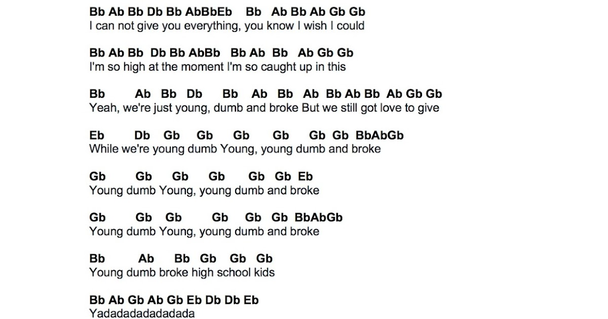 Flute Sheet Music: Young Dumb & Broke