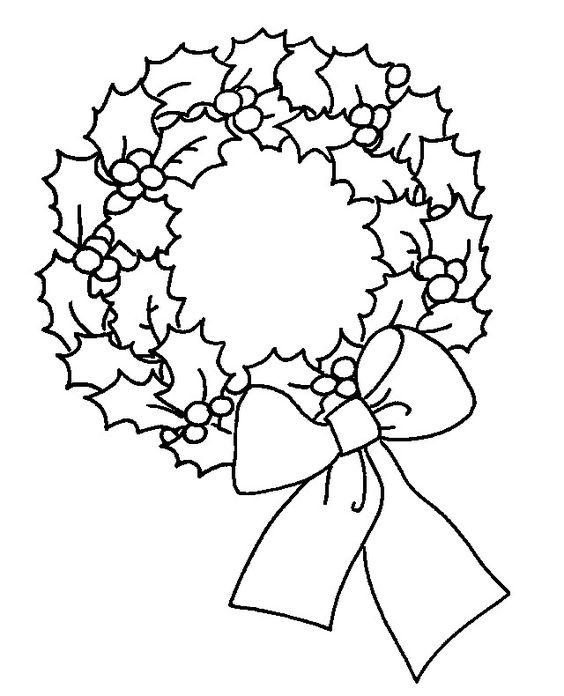Hình tô màu vòng hoa giáng sinh