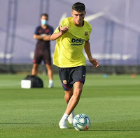 Pictures: Barcelona new boy Pedri completes his first-ever training session with Barcelona