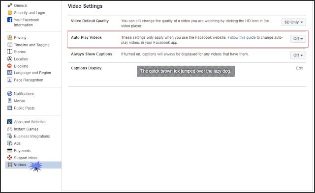 إيقاف التشغيل التلقائى للفيديوهات فى فيسبوك المتصفح