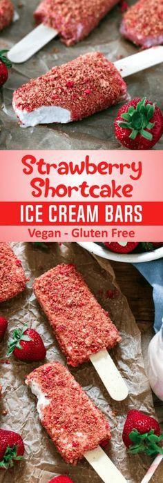 Strawberry Shortcake Ice Cream Bars (Vegan + GF)