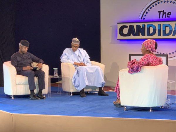 Osinbajo, Buhari, Kadaria Ahmed during the Live TV Programme