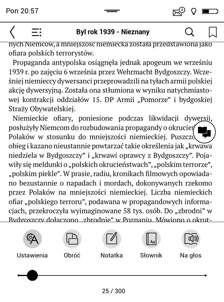 PocketBook Aqua 2 – menu e-booka