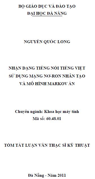 Nhận dạng tiếng nói tiếng Việt sử dụng mạng nơ-ron nhân tạo và mô hình markov ẩn