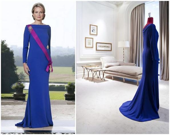 Queen Mathilde wears Natan Blue Gown