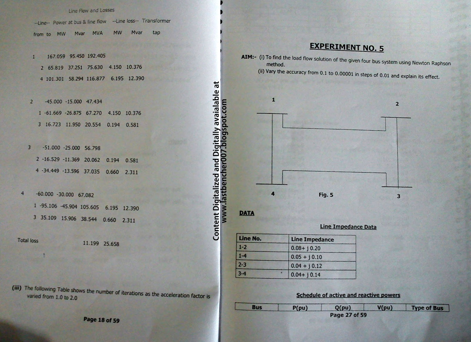 Power Systems 2- Lab Manual (Only Matlab Exp,Hardware when apparatus