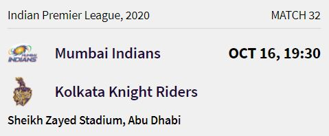 Kolkata Knight Riders match 8 ipl 2020