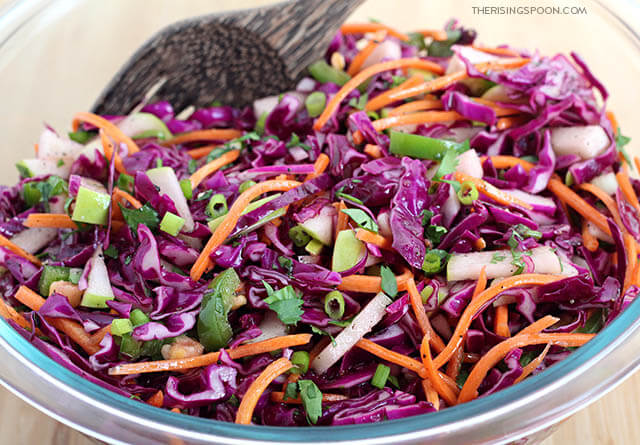 Red Cabbage Coleslaw with Apple & Carrot (No Mayo)
