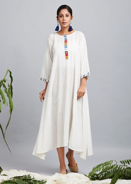 Asymmetrical White Cotton Kurti
