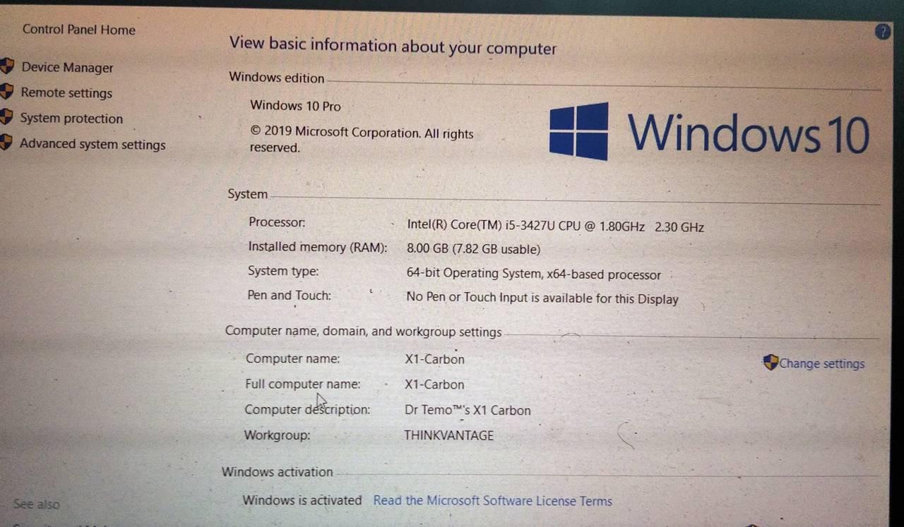 Windows 10 display on Lenovo ThinkPad X1 Carbon
