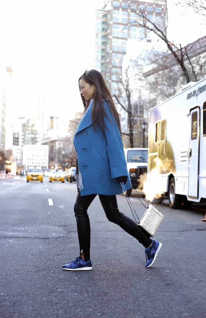 Yoana Baraschi modern icon car coat, shall we sasa, holiday giveaway, fashion blog giveaway, jcrew plaid scarf, 31 phillip lim bag, blank denim nyc leather pants, reebok skyescape sneaker, baublebar 360 pearl studs, asos gloves, teal coat, oversized coat, winter, street style, fashion blog, shallwesasa