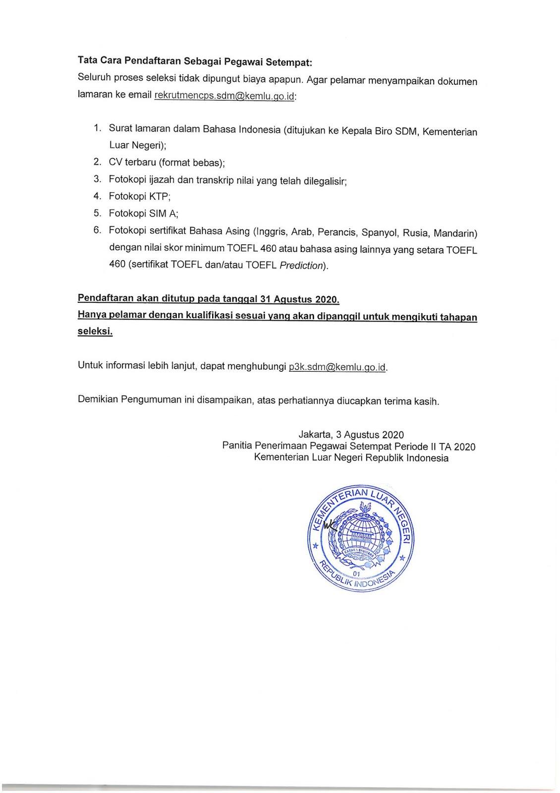 Penerimaan Calon Pegawai Setempat Periode II TA 2020  Kementerian Luar Negeri RI (UPDATE)