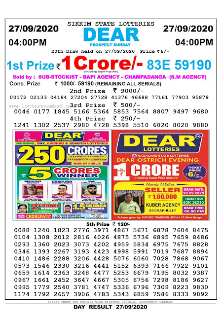 Sikkim State Lottery Sambad 27-09-2020 Today Result 4 PM