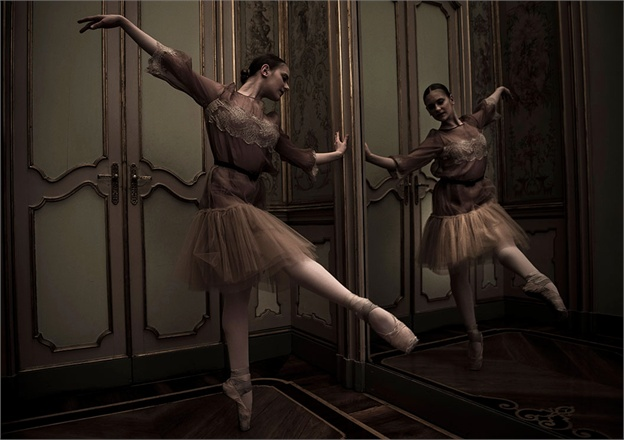 Moody shot of Ballerinas in Erika Cavallini for Vogue Italy seen on Hello Lovely