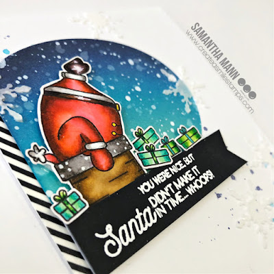 Whoops! Santa Didn't Make It In Time Card by Samantha Mann for Create a Smile Stamps, Distress Inks, Ink Blending, Christmas Card, Cardmaking, Handmade Cards, Embossing Paste, Stencil, Santa #createasmile #createasmilestamps #cards #christmascard #cardmaking #handmadecards #santa