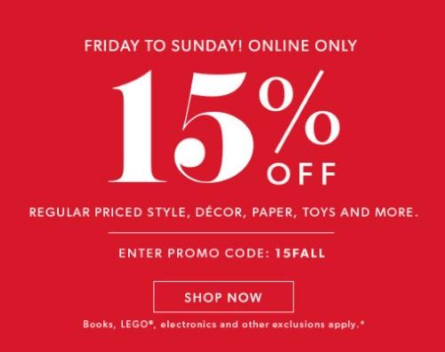 Chapters Indigo 15% Off Weekend Promo Code