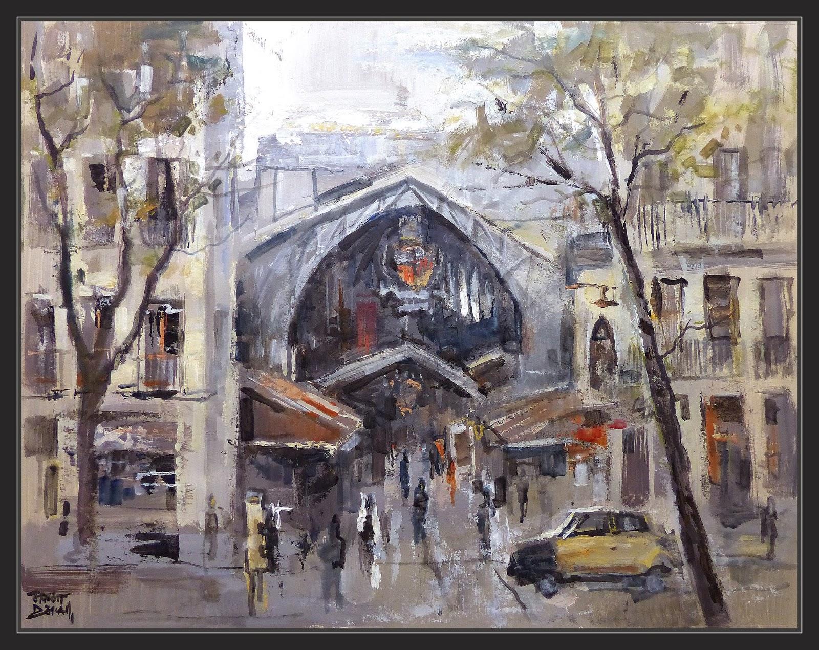 Ernest descals artista pintor mercat boqueria pintura barcelona mercado arte tiendas mercados - Pintores de barcelona ...